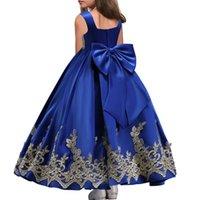 büyük çiçek balo elbiseleri toptan satış-Altın Aplike Uzun Çiçek Kız Elbise 2019 Büyük Yay İlk Communion elbise Kız Pageant Elbise Çocuklar Balo Elbise
