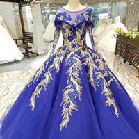 Wholesale china made pageant dresses for sale - Group buy 2019 Royal Blue Evening Dresses O Neck Long Sleeves Muslim Floor Length Evening Party Dresses With Shiny Lace China Girl Pageant Dress