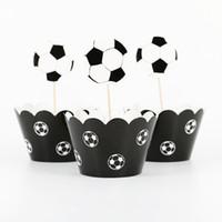 bolinhas de papel cupcake venda por atacado-24 pçs / lote copa do mundo de papel de futebol cupcake envoltórios toppers (12 wraps + 12 topper) para crianças festa de aniversário decoração de copos de bolo