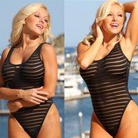 maillot de bain noir achat en gros de-SexeMara 2017 Summer Sexy Maillots De Bain Femmes Black Stripe Mesh Sheer Monokini One Piece Body Transparent Beachwear Maillot De Bain
