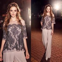 Two Pieces Modest Mother of the Bride dresses Lace Half Sleeves Chiffon Long Pant suits Wedding Party Gowns