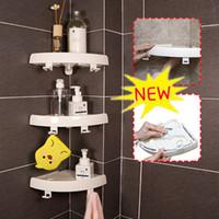 держатели для мыла оптовых-Белые угловые полки для хранения душа Мыльница Держатель для подносов Присоска