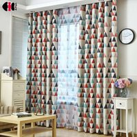 Wholesale red printed curtains resale online - Modern Green Red Triangle Printed New Home Decorative Curtains Window Curtain For Bedroom Window blind WP211C
