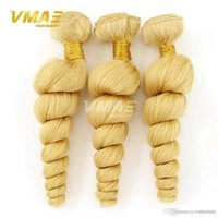 Wholesale human hair waves blond resale online - Honey Blond Brazilian Hair Unprocessed Blonde Virgin human Hair weave Blonde Virgin Brazillian Loose Wave Hair Bundles