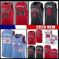 camisa de basquete azul 23 venda por atacado-Touro Lauri 24 Markkanen Basketball Jersey 23 Michael Zach 8 Lavine Wendell 34 Carter Jr. NCAA Coby 0 White Jerseys 2020 azul novo