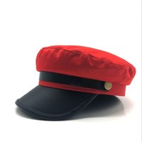 054e66e9ed727 boina roja para hombres al por mayor-Unisex negro rojo plano azul marino  gorra sombrero