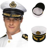 ingrosso marinai cappelli-I marinai della Marina capitano della protezione regolabile bianco cappello decorativo Skipper Adult Party Unisex evento di costumi Cappelli