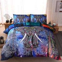 ingrosso elefante gemello-Presa biancheria da letto Twin King Elephant Stampa trapunta per bambini Copripiumino Set con federa Tessuti per la casa stampati ad acquerello