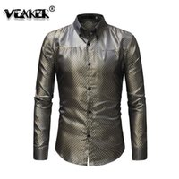 Wholesale barber clothes resale online - Men Shirt Man Wedding Best Man s Plaid Shirt Barber Shop imported china Shirt Work Clothes Night Club KTV Master s Shirt
