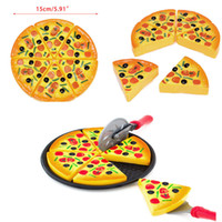gefälschte lebensmittel großhandel-6 stücke pizza spielzeug kinder pretend play fake food party kochen schneiden kreative geschenk toppings pretend dinner küche play food toys