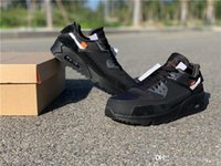 x caja 36 al por mayor-2019 OFF-White x Nike Air Max 90 Auténtico Air Off 90 Max 90 Cono Negro Gamuza Blanca Las 10 zapatillas deportivas Desert Ore Women Mens Sneakers AA7293-001 Con Caja 36-45