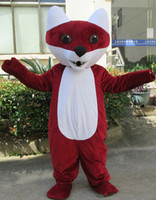 fantasias de raposa vermelha venda por atacado-Red fox Mascot Costume Adulto Tamanho red fox Mascotes Xmas Party Dress Cospay Aniversário Bem-vindo Mascotes