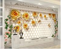 luxus-gold-tapete großhandel-Benutzerdefinierte foto 3d wallpaper Europäischen luxus gold rose soft pack Römischen spalte wohnzimmer 3d wandbilder wallpaper für wände 3 d