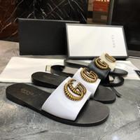 ingrosso grande vendita di scarpe-Sandali delle donne all'ingrosso di marca di grandi dimensioni 35-42 Designer scarpe da scivolo estate ampia sandali piatti scivolosi Slipper ex spiaggia infradito pantofola
