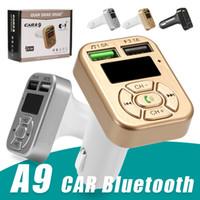 iphone handfree venda por atacado-Adaptador FM A9 Bluetooth Carregador de Carro Transmissor FM com Adaptador Dual USB Handfree MP3 Player Apoio TF Cartão para o iPhone Samsung Universal