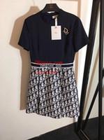 ingrosso vestiti di jupe-2019 abiti estivi donna stampati lettere gonna splice abiti di alta qualità vestiti delle donne signore della moda gonna casual jupe femmes