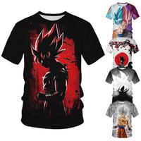 pelotas sueltas al por mayor-de lujo hombres de la camiseta de cuello redondo de las mujeres encabeza verano flojo de anime Dragon Ball Z hombres impresos camisetas de la moda unisex par de mangas cortas streetwear