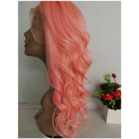 Wholesale light pink human hair wigs resale online - Pink Brazilian Human Hair Lace Front Wig inch Big Wavy Curly Swiss Lace Wig