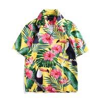 sarı kumsal kısa toptan satış-2019 Yaprak Çiçek Baskı Hawaii Gömlek Erkekler Rahat Tropikal Beaside Plaj Gömlek Yaz Sarı Kısa Kollu Gevşek ABD Boyutu Tops
