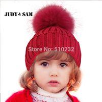 ropa de invierno para niños al por mayor-Nuevo 2015 Baby Kids Snow Hat Winter Wool Knit Beanie Mapache sombreros para niños ropa accesorios moda sombrero regalo de Navidad