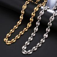 halskette handschellen kette groihandel-11mm Hip Hop Handschellen-Form-Edelstahl-Ketten-Halskette 18K Gold überzogene Kaffeebohne-Ketten-Halskette