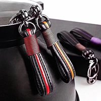Wholesale detachable keychains for sale - Group buy 2019 Men Premium Leather Valet Keychain Detachable with Car Key Loop Ring Handmade Keychains Car Key Ring Colors Women Business Gift M561F