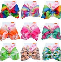 Wholesale hair bows christmas for girl for sale - Group buy 8 inch kids Jojo Hairpins Rainbow Print Christmas Bows With Clips For Girls Hair Accessories Hairpins Barrette KKA6306