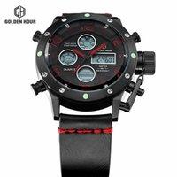 ingrosso grande display digitale-Sport Dual Display Orologi Uomo Wach Quartz Sport Impermeabile 50M Digital Orologio Big Clock Leather Relogio Masculino
