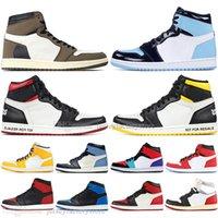 mens high top dış ayakkabılar toptan satış-Atletik 1 Yüksek OG Travis Scotts Kaktüs Jack UNC Erkek Basketbol ayakkabı 1 s Top 3 Yasak Bred Toe Lakers Erkekler Spor Tasarımcısı Sneakers açık