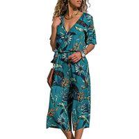 breite bein-overall-styles großhandel-Sommer Overall Frauen Casual Print Kurzarm weites Bein lange Hosen Boho Stil Strand Overalls Salopette femme