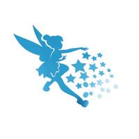ingrosso fate di acrilico-1PC Angel Magic Fairy Stars 3D Wall Sticker specchio acrilico Decorazione creativa regalo per bambini Baby Bedroom soffitto Home Decor