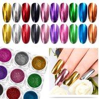 nagellack pigment großhandel-Nagel-Spiegel Glitter Puder Metallic-Farben-Nagel-Kunst-UVgel Polieren Chrom Flakes Pigment Staub Dekorationen Maniküre