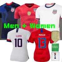 copa do mundo jerseys usa venda por atacado-4 estrelas 2020 World cup América menina Soccer Jersey Lavelle shirt campeão EUA mulheres homem LLOYD RAPINOE KRIEGER Camisola de Futebol Feminino 19 20
