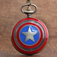 Wholesale captain watches resale online - Cool Captain American Retro Pocket Watch Necklace Bronze Marvel Chain Watch Pendant Children Boy Gift reloj de bolsillo