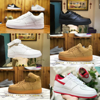 zapatos casuales unisex al por mayor-2019 Nike Air Force 1 one airforce Shoes Low Skateboard Shoes Cheap One Unisex 1 Knit Euro Air High Mujer Todo Blanco Negro Rojo Zapatos casuales