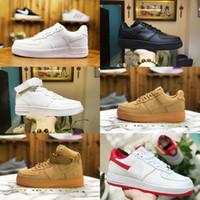 euro casual toptan satış-Satış 2019 Yeni Tasarım Kuvvetleri Erkekler Düşük Kaykay Ayakkabı Ucuz bir Unisex 1 Örgü Euro Hava Yüksek Kadınlar Tüm Beyaz Siyah Kırmızı Rahat ayakkabılar