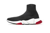 botas de tênis venda por atacado-Designer Sneakers Speed Trainer Preto Vermelho Gypsophila Triplo Preto Moda Plano Sock Botas Casual Shoes Speed Trainer corredor com saco de poeira