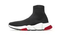 shoe al por mayor-Zapatillas de deporte de diseñador Entrenador de velocidad Negro Rojo Gypsophila Botas de medias planas negras de moda negras Calzado casual Corredor de entrenador de velocidad con bolsa para el polvo