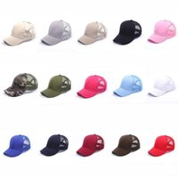 Wholesale plain solid Ponytail Baseball Cap Messy Buns hat Trucker Pony caps unisex Visor Cap Dad Hat mesh summer outdoor Snapbacks R1302