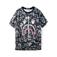 mens tee shirt zippers toptan satış-Bape Tasarımcı Erkek T Shirt Erkek Kadın Yüksek Kalite Kısa Kollu Fermuar Dekorasyon Köpekbalığı Baskı Tees Boyut M-2XL