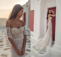 Wholesale beaded lace mermaid tiered wedding dress resale online - Sexy Full Lace Sweetheart Pearl Beaded Mermaid Country Beach Bohemian Wedding Dresses Vintage Strapless Plus Size Bridal Gown