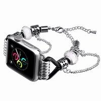 ingrosso braccialetto di cuoio della cinghia di cuoio delle donne-Braccialetto di perline retrò per Apple Watch Series 4/3/2/1 Cinturino 42mm 38mm Cinturino in pelle PU per cinturini iWatch Cinturino uomo donna