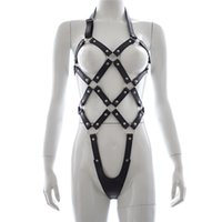 Wholesale sex women wearing leather resale online - Adult Games Faux Leather Sex Bondage Restraint Harness Fetish Wear For Women Female Body Harness Bondage Sex Products SH190802