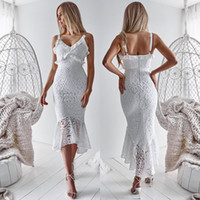 yüksek düşük beyaz plaj elbiseleri toptan satış-2020 Yeni Ucuz Küçük Beyaz Yüksek Düşük Kısa Balo Parti Elbiseler sapanlar Spagetti Tam Dantel Mermaid Yaz Plaj Kokteyl Kadınlar Nedensel Elbise