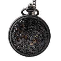 мужская механическая цепочка для часов оптовых-DHL Shipping Black Phoenix Skeleton Mechanical Roman Dial Pocket Watch with Chain Men Women Pocket Watches 10pcs/lot Wholesale