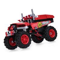 pequeños camiones de juguete al por mayor-Bloques de construcción pequeños juguetes de ensamblaje 7-14 años de edad, niño juguete camión rompecabezas bloque de construcción juguete camión