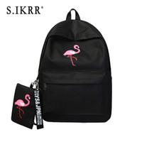Wholesale korean canvas school bag backpack resale online - S IKRR Women Backpack Purse Simple Flamingo Print Canvas Student Bookbag Laptop School Bag Large Capacity Korean Girls Backpacks