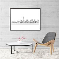 Wholesale skyline oil resale online - New York City Skyline Simple Painting Wall Art Picture abstrat Poster And Print Decorative Home Decor
