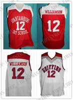 número do dia venda por atacado-# 12 Zion Williamson Spartanburg Grifos Dia High School Retro Clássico Basketball Jersey Costurado Número Personalizado e nome Jerseys