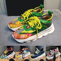imprimir zapatos corriendo al por mayor-Versace Chain Reaction Men 2019 Moda de lujo zapatos de diseñador zapatos para correr Estampado de leopardo verde blanco de gamuza mujeres deportivas zapatillas de deporte
